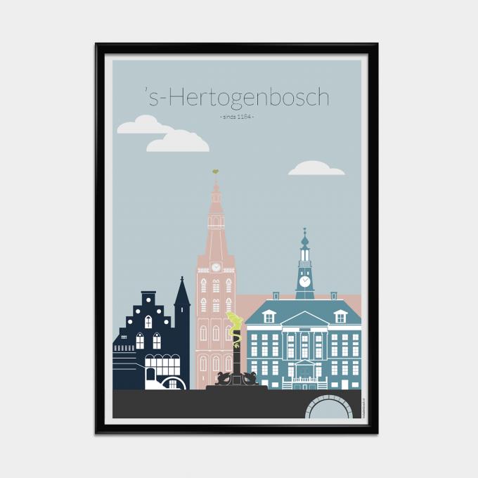 Poster 's-Hertogenbosch in kleur