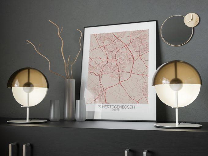 Landkaart Den Bosch rood interieur