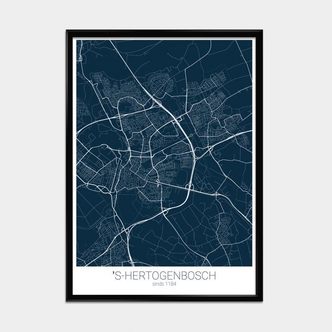 Poster Landkaart Blauw