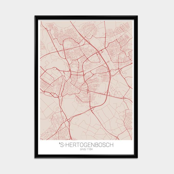 Poster Landkaart Rood