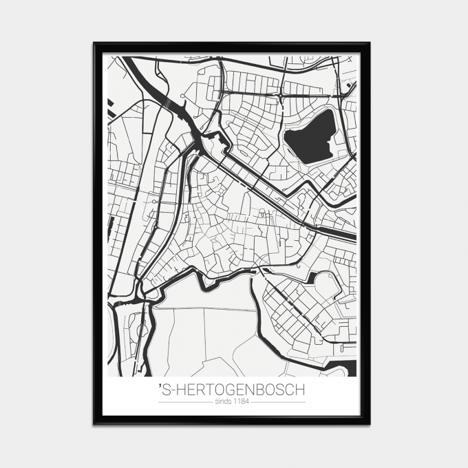 Poster Landkaart Zwart/Wit