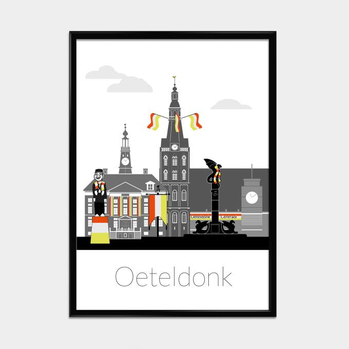 Oeteldonk poster Zwart/Wit