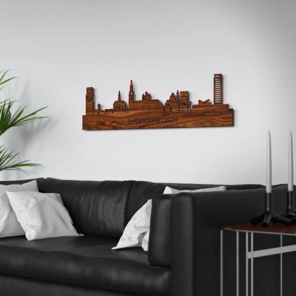 Skyline Den Bosch muur Palissander