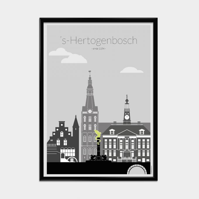 Poster 's-Hertogenbosch zwart/wit